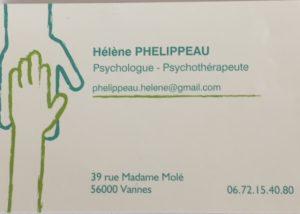 Carte de visite Hélène Phélippeau, psychologue à Vannes
